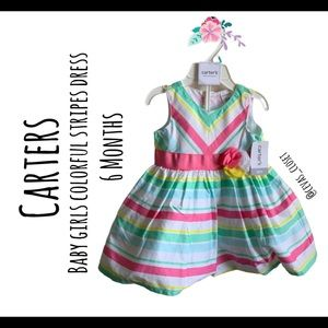 Carters baby girl dress multi color stripes